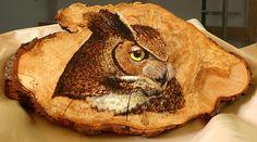 Owlets pyrography   Owl On Oak Slab Pyrography