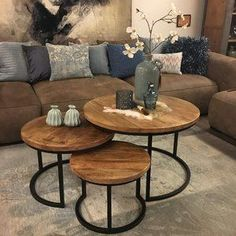 I love how these tables can slide into themselves. table home homedecor liv Home Living Room, Living Room Designs, Living Room Decor, Black Side Table, Round Coffee Table, Nesting Tables, Living Room Inspiration, House Design, Industrial Furniture