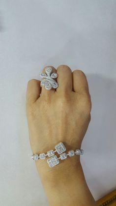 Rose cut ring & emerald cut bangle