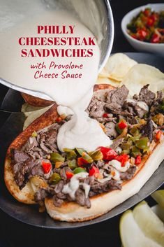 Super quick and easy Philly cheesesteak recipe with indulgent provolone cheese sauce! Let me show you how to make practically fail-proof cheese sauce, so you too can make weeknight dinner a little more special. Steak Sandwich Sauce, Philly Cheese Steak Sauce, Steak Sandwich Recipes, Steak Hoagie Sauce Recipe, Authentic Philly Cheese Steak Recipe, Cheese Steaks, Sandwich Sauces, Sandwich Platter, Healthy Sandwiches