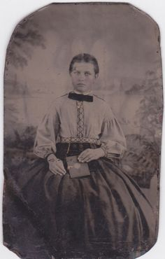 Victorian Girl holding album - Antique Tintype Photo
