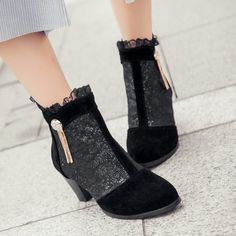 Stylish Women's Ankle Boots With Lace and Chunky Heel Design #jewelry, #women, #men, #hats, #watches, #belts, #fashion