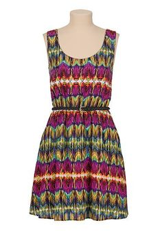 Belted open button back printed dress (original price, $34) available at #Maurices