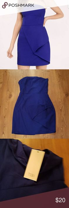TOBI strapless peplum dress TOBI New with tags!! Sext blue strapless peplum midi dress Tobi Dresses Midi