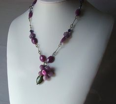 Purple Jade and Amethyst Flower Necklace. $80.00, via Etsy.