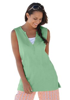 $10 Plus Size Top, t-shirt in thermal knit with layered look | Plus Size sleeveless | Woman Within