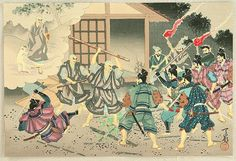 "Life of Nichiren. ""Attack to the High Priest"" by Tenrei Horiuchi. From ""Nichiren Seijin Goichidai Ki Gafu"" (Picture Album of the Life of the Holy Priest Nichiren). The Night Attack of Matsuba-ga-Tani. The opponents against Nichiren swarmed outside of Nichiren's house. Fortunately, Nichiren was not there. A white monkey had appeared and took him to the mountain in the back yard."