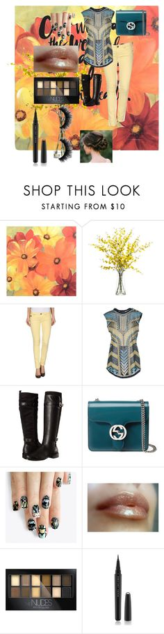 """""""Untitled #327"""" by banana679 ❤ liked on Polyvore featuring Lux-Art Silks, Duck Farm, Balmain, Aerosoles, Gucci, alfa.K, Maybelline, Marc Jacobs, women's clothing and women's fashion"""