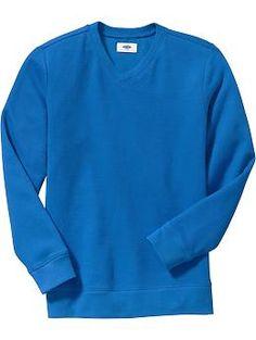 Boys Textured-Rib V-Neck Pullovers