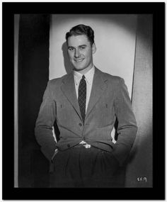 Errol Flynn smiling Portrait Premium Art Print