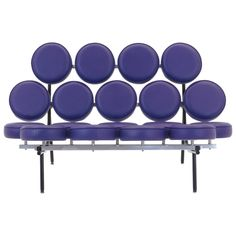 Authentic purple vinyl George Nelson Marshmallow sofa in excellent condition.   From a unique collection of antique and modern sofas at https://www.1stdibs.com/furniture/seating/sofas/