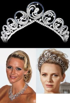 The Ocean Tiara: Created in 2011 by Van Cleef & Arpels. It was made to represent ocean waves and can be converted into a necklace. Materials: more than 850 diamonds and 359 sapphires in three shades, totaling over 1,200 stones and 70 carats. Provenance: Princess Charlene of Monaco, from Prince Albert II of Monaco on the occasion of their 2011 wedding. Van Cleef & Arpels created unique jewelry for Princess Charlene of Monaco, a gift from her husband, Prince Albert II.