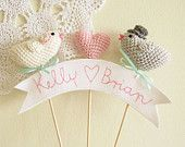 Featured on Rock my Wedding Lipstick Pink Wedding Cake Topper Je T'aime Banner Sign with Crochet Hearts by Cherrytime. $36.00, via Etsy.