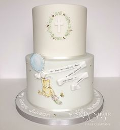 Pooh bear and piglet grand adventure christening cake Christening Themes, Christening Cake Boy, Winnie The Pooh Cake, Winnie The Pooh Birthday, Baby Birthday, Birthday Cakes, Fig Cake, Sugar Cake, Different Cakes