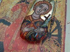 Saint Catherine of the wheel - Agia Aikaterina the bride of Christ in beachwood -handpainted female saints and holy helpers icon Beach Wood, Bride Of Christ, Byzantine Icons, Driftwood Art, Religious Art, Handmade Bags, Holi, Saints, Heaven