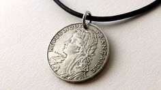 French necklace, Coin necklace, Antique necklace, Leather necklace, Coin jewelry, French jewelry, Antique jewelry, Antique coins, Coin, 1905 by CoinStories on Etsy