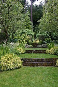 A beautiful terraced garden in Portland, Oregon.