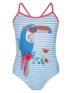 Our Terry Toucan swimsuit for girls is guaranteed to brighten up beach days. With its striped print, colourful toucan motif and appliqué details, this one-pi...