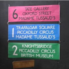 Coloured London Bus Special Destination Blind - Tate Gallery - Oxford Street - Madame Tussauds - Pink - Pedlars Friday Vintage