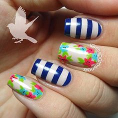 Floral and blue striped nails