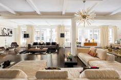 The light-filled great room in Lauren Santo Domingo's industrial Manhattan loft is an entertainer's dream space.