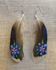 HandPainted Feather Earrings  Sunset Flowers by TheFeatherArtist, $25.00