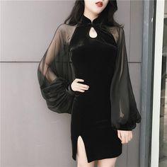 Black Elegant Gauze Cheongsam Dress in 2019 Pretty Outfits, Stylish Outfits, Beautiful Outfits, Cute Outfits, Elegant Dresses, Sexy Dresses, Dress Outfits, Fashion Dresses, Ulzzang Fashion