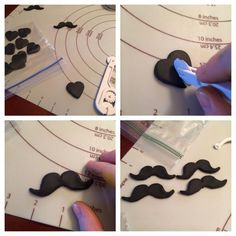 Mustache cupcake toppers using a heart cutter - awesome idea from Jennifer Burton. Just mount them onto a circle of fondant to make the topper.