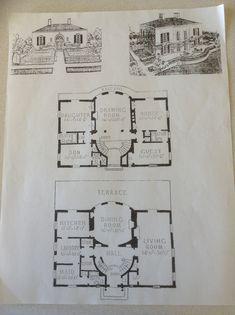 Split-level Regency Cottage with upper level Drawing Room Regency House, Vintage House Plans, Modern Mansion, House Blueprints, Facade Design, Story House, Architecture Plan, Elegant Homes, Drawing Room