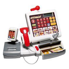 Avec cette caisse enregistreuse tactile, l'enfant scanne les produits et les enregistre par catégorie. Il prépare l'addition grâce aux touches de l'écran tactile. Puis il rend la monnaie ou bien se fait payer par carte bancaire. Tout est possible, comme chez un vrai marchand.