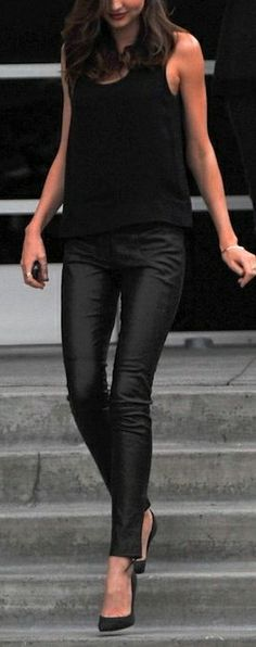fall spring outfits womens fashion clothes style apparel clothing closet ideas all black top leggings heels street