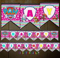 Paw Patrol Banner Girl's Birthday Banner by fiestaprintable