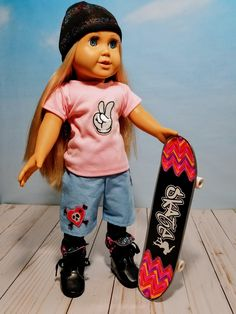 Excited to share the latest addition to my #etsy shop: 18 Inch Doll Clothes-Skate Board Outfit-T-shirt Board Shorts http://etsy.me/2iG3xH5 #toys #blue #pink #dollclothes18inch #dolltshirt #dollclotheshanger #18inchdollshorts #18inchdollclothes #18dollskateboard