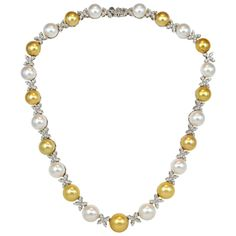 Multicolor South Sea Pearl Diamond Necklace | From a unique collection of vintage link necklaces at http://www.1stdibs.com/jewelry/necklaces/link-necklaces/
