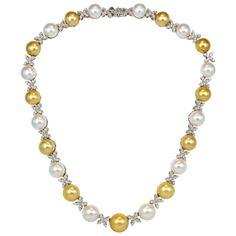 Multicolor South Sea Pearl Diamond Necklace
