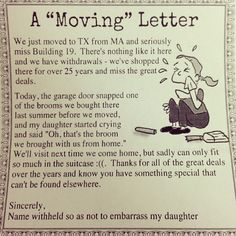 A letter from a customer about how much they miss Building 19!