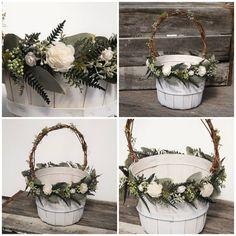 Rustic Woodland Flower Girl Basket Bucket with by treasuredflorals