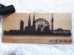 Handmade String art with Vienna Skyline. Wooden board with silver glitter. Silver Glitter, Vienna, Art Girl, Skyline, Wool, Nails, Board, Handmade, Basteln
