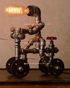 Lighting designer industriale bici uomo Steampunk lampada
