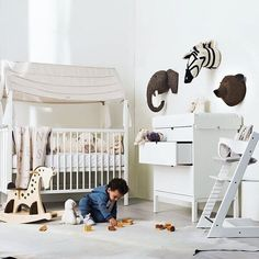 What a stunning nursery by @neimanmarcus featuring the elephant brown bear and zebra heads by fionawalkerengland