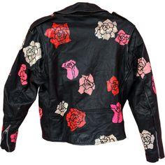 Hand Painted Vintage Jacket ❤ liked on Polyvore featuring outerwear, jackets, vintage jackets and vintage leather jacket