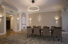 The Norwegian Prime Ministers Residence designed by Metropolis arkitektur & design. Prime Minister, Conference Room, Chandelier, Ceiling Lights, Interior, Table, Projects, Furniture, Design
