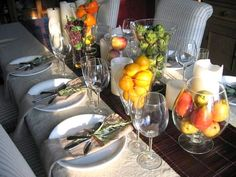 """""""Fall Decorating Ideas for the Table"""" -- I love the sprig of rosemary tied with the silverware and napkins."""