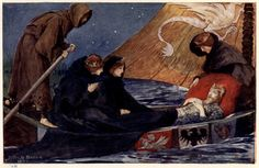 """The Passing of Arthur (illustration from """"King Arthur and his Knights"""") by John H. Bacon, 1910"""