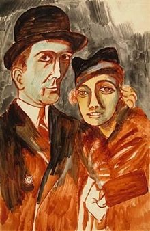 Study of Man and Woman in Hats By Ben Shahn ,Circa  1935