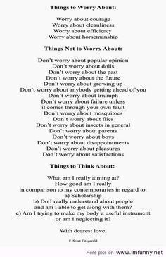 Things to worry about...