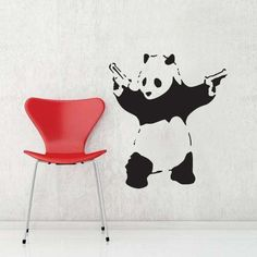 Wall Stickers/Wall Decals - Panda for sale on Trade Me, New Zealand's auction and classifieds website Wall Stickers Panda, Banksy Wall Art, Butterfly Chair, Home And Living, Wall Decals, Illustration Art, Creative, Projects, Painting