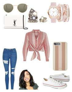 """Tied crop shirt"" by bethanyyk on Polyvore featuring River Island, Topshop, Converse, Ray-Ban, A.X.N.Y., Yves Saint Laurent and Michael Kors"
