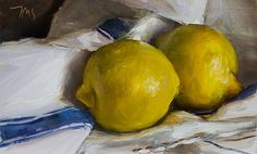 daily painting titled Two lemons on a french cloth - click for enlargement