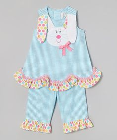 Turquoise Bunny Seersucker Tank & Pants - Infant, Toddler & Girls #zulily #zulilyfinds